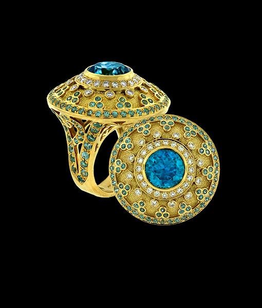 Paula Crevoshay Cambodia Blue Zircon Diamond Ring