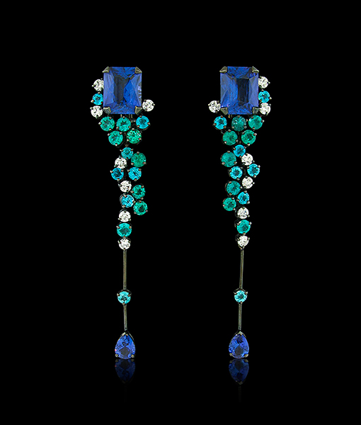 Arunashi Tanzanite Paraiba Diamond Earrings SOLD!
