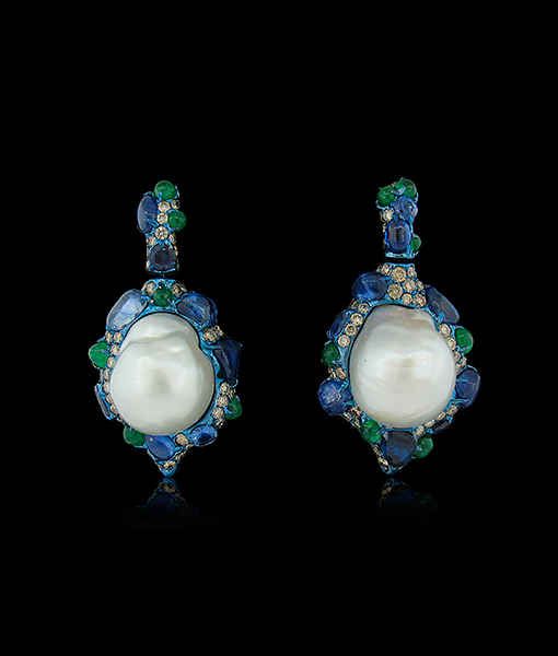 Arunashi Emerald Sapphire Diamond Earrings
