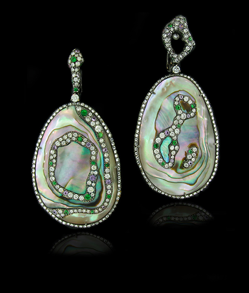 Abalone, Diamond and Sapphire Earrings