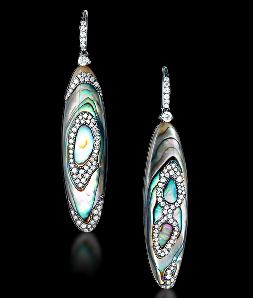 Abalone and Diamond Earrings