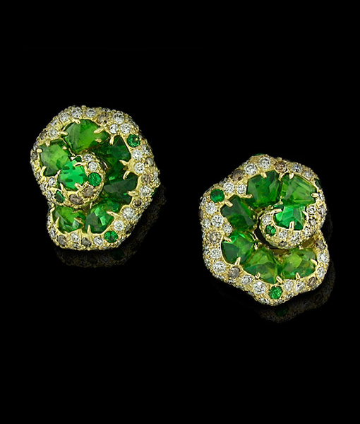 Tsavorite and Diamond Snail Earrings