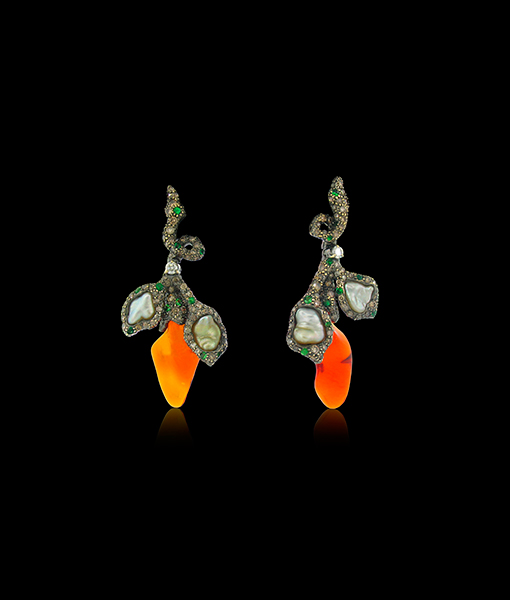 Arunashi Fire Opal and Pearl Branch Earrings