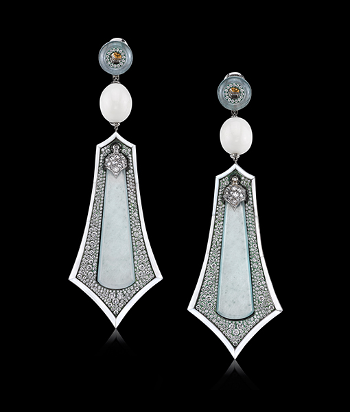 Arunashi Chalcedony, Pearl and Diamond Earrings