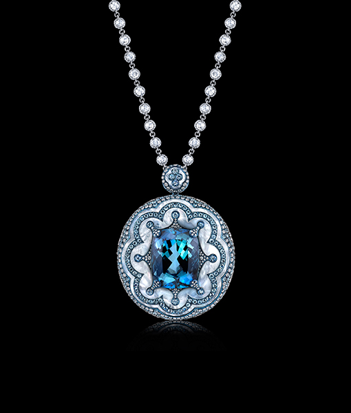 Arunashi Aquamarine and Diamond Pendant