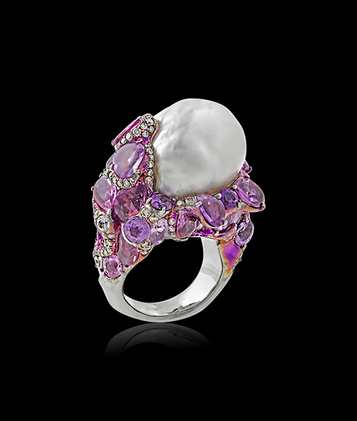Arunashi Pearl and Pink Sapphire Ring