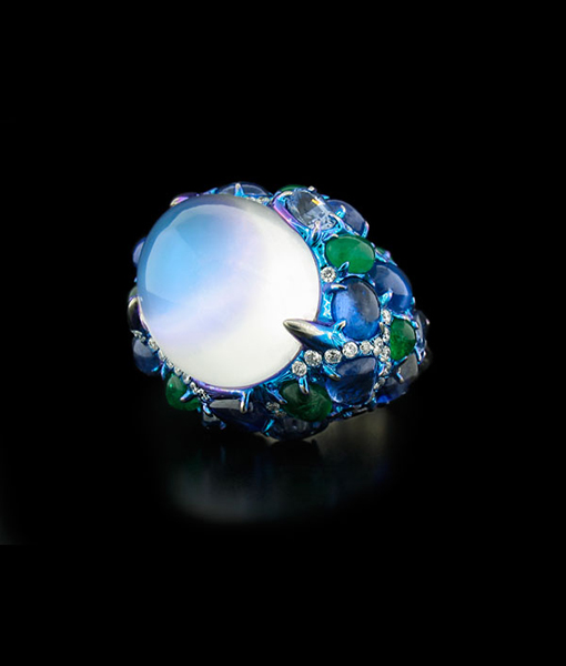 Blue Moonstone, Sapphire, Emerald and Diamond Ring