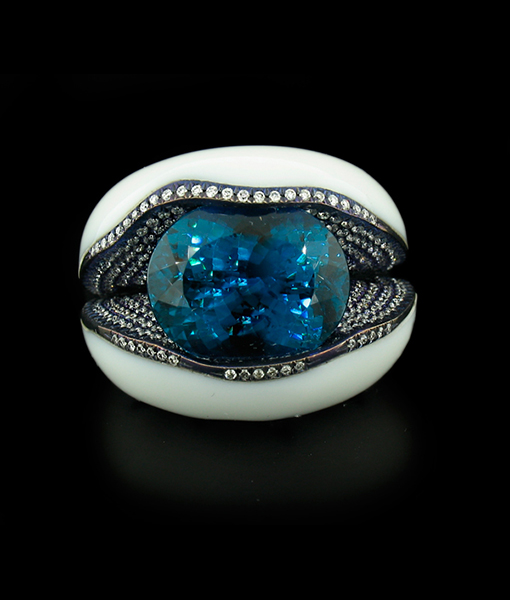 Indicolite and Diamond Ring in Cacholong