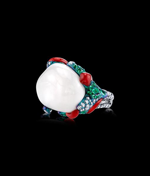 Arunashi White Coral Ring