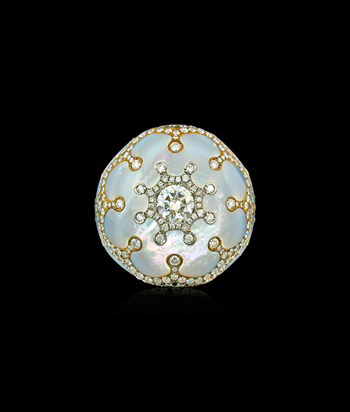 Arunashi Diamond and Mother of Pearl Ring