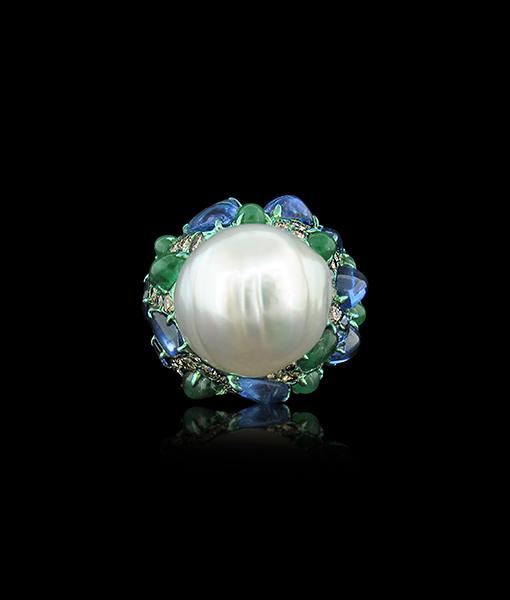 Arunashi Pearl Emerald Sapphire Diamond Ring