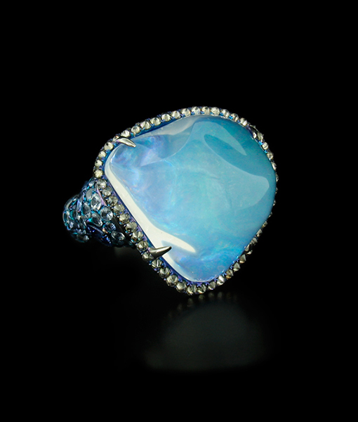 Water Opal, Sapphire and Diamond Ring