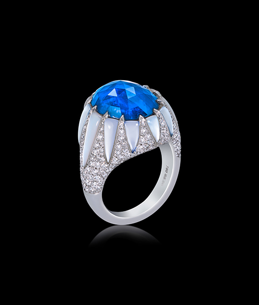 Arunashi Blue Sapphire and Diamond Ring