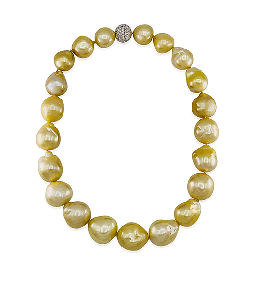 Golden Baroque Pearl Strand with Diamond Clasp