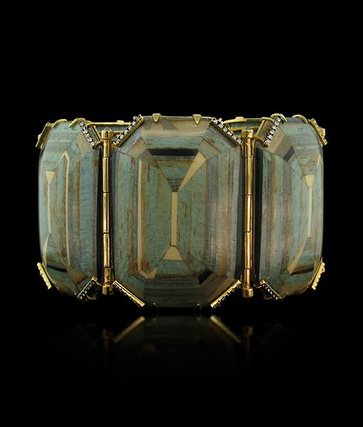 Silvia Furmanovich Marquetry Blue geometric bracelet light brown Diamonds