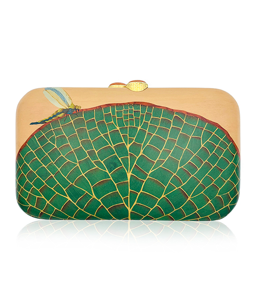 Silvia Furmanovich Waterlily Marquetry Clutch Wood Moonstone