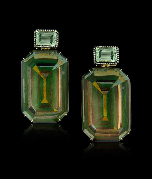 Silvia Furmanovich Green Geometric Earrings