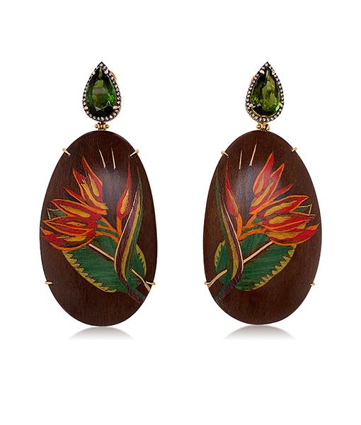 Silvia Furmanovich Heliconia Brown Earrings Diamonds Green Tourmaline