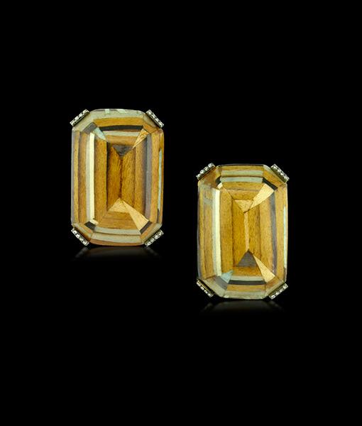 Silvia Furmanovich Marquetry Diamonds Earrings