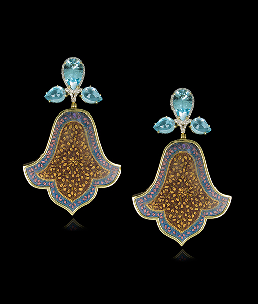 Silvia Furmanovich India Hand Painted Earring Topaz Diamonds