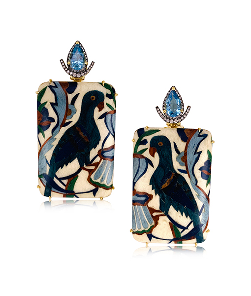 Silvia Furmanovich Floral Bird Marquetry Earrings Blue Topaz Diamonds