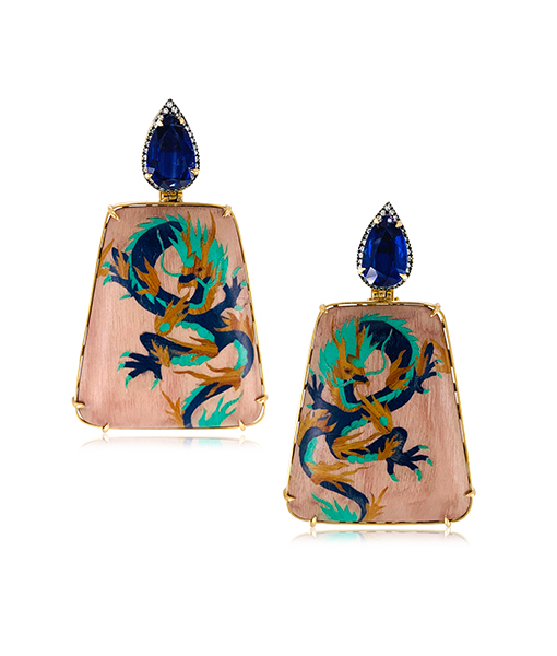 Silvia Furmanovich Dragon Marquetry Earrings Blue Sapphires Diamonds