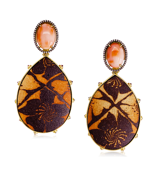 Silvia Furmanovich Ceramic Earrings Peau D'angel Coral Sapphires Diamonds