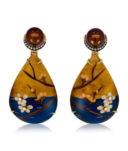 Silvia Furmanovich Marquetry Cherry Blossom Teardrop Earrings
