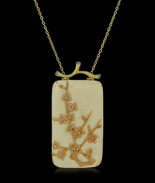 Silvia Furmanovich Floral Marquetry Necklace with Diamonds