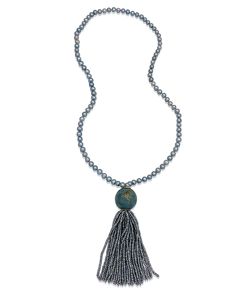 Silvia Furmanovich Grey Barroque Pearl Necklace Marquetry Light Blue Ball Labradorite Tassel