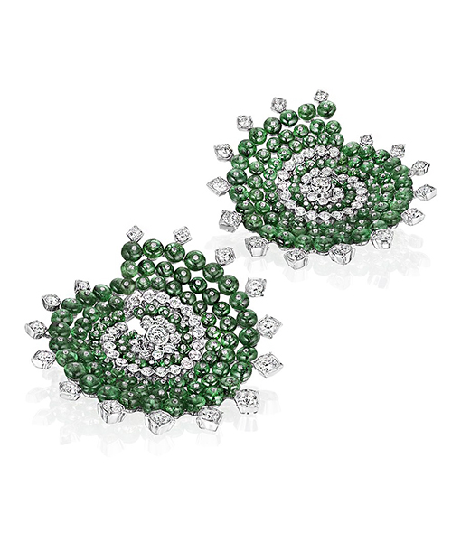 Siegelson Emerald Diamond Spiral Hoop Earrings