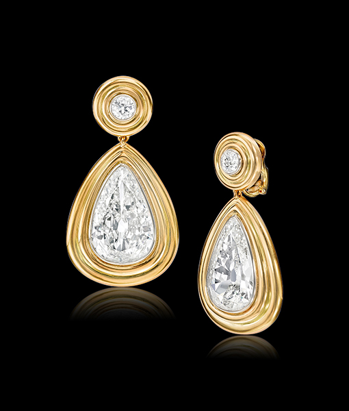Drop Shaped Diamond Ear Pendants by Siegelson
