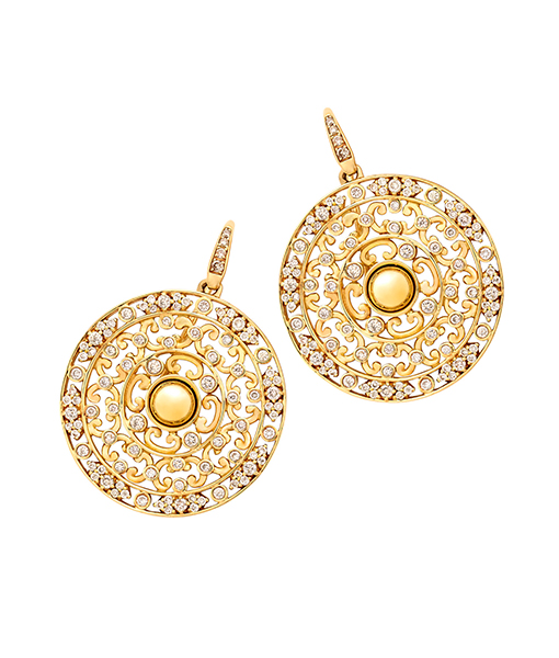 Syna Yellow Gold Carved Earrings with Champagne Diamonds