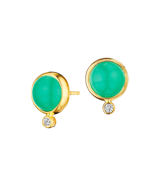 Syna Chrysoprase and Diamond Earrings