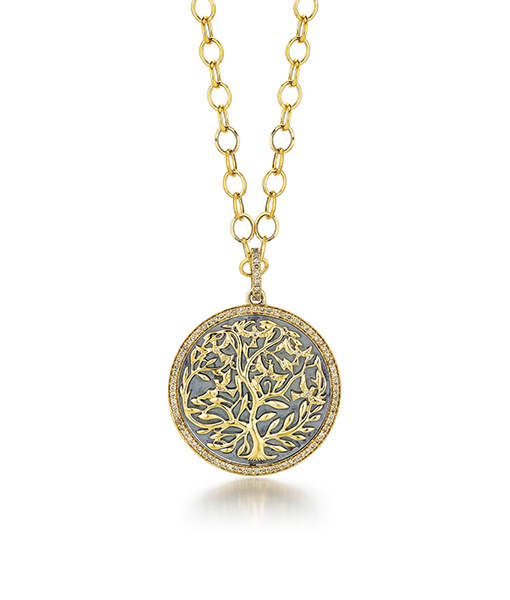 Syna Oxidized Silver Mogul Tree of Life Pendant with champagne diamonds