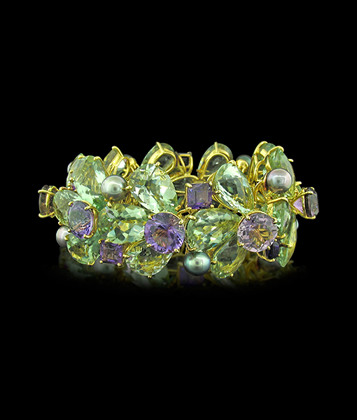 Tony Duquette Black Pearl, Purple and Green Amethyst Bracelet