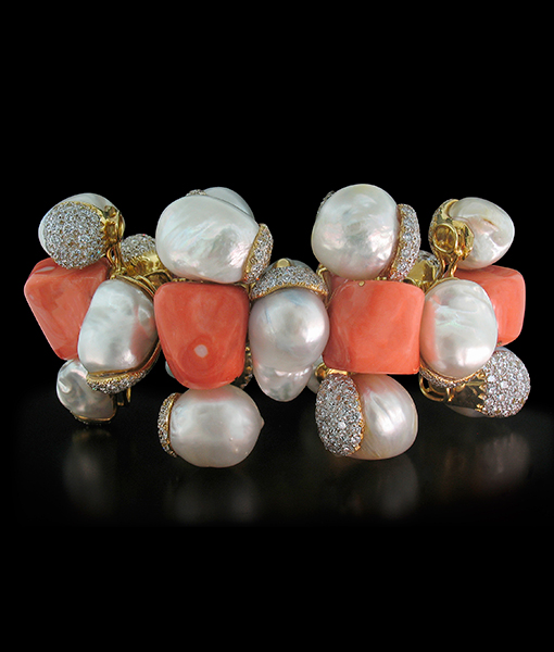 Tony Duquette Coral Diamond Pearl Bracelet SOLD!