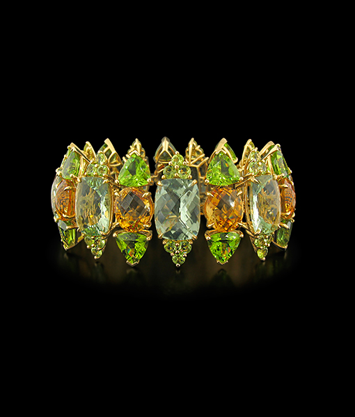 Tony Duquette Green Amethyst, Peridot and Citrine Bracelet
