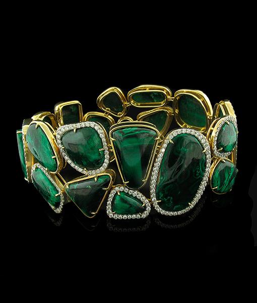 Tony Duquette Malchite Diamond Bracelet