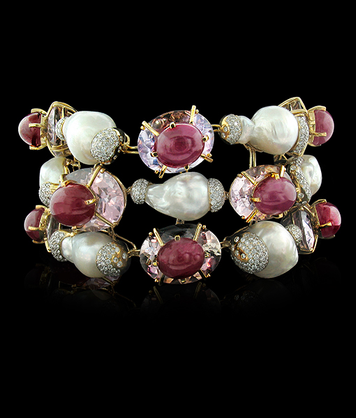 Tony Duquette Amethyst Ruby Diamond Bracelet Pearls