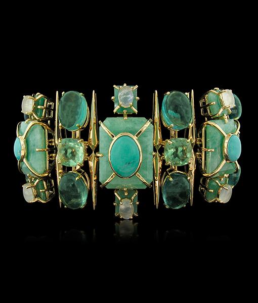 Tony Duquette Emerald Fluorite Turquoise Moonstone Bracelet SOLD!