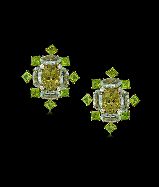 Tony Duquette Citrine and Peridot Earrings