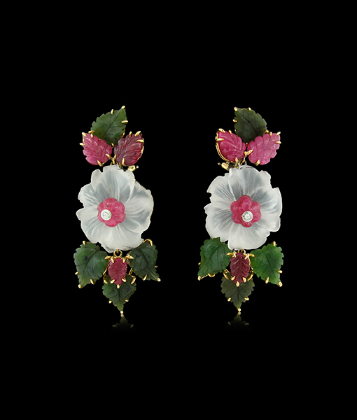 Tony Duquette Crystal Ruby Diamond and Jade Earrings