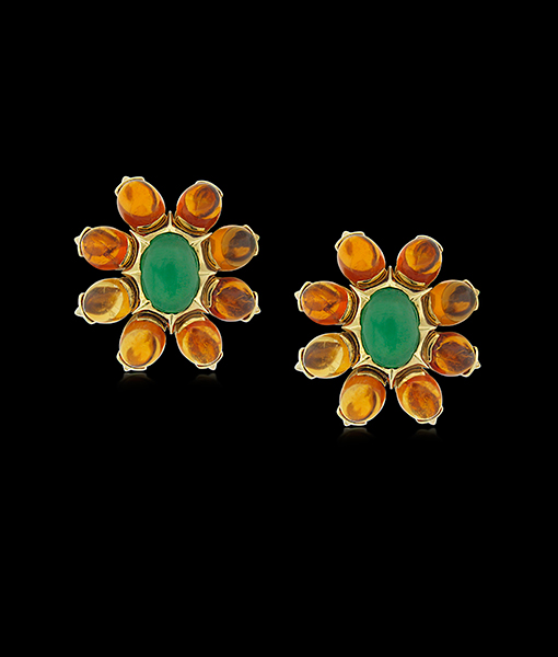 Tony Duquette Citrine and Chrysoprase Earring