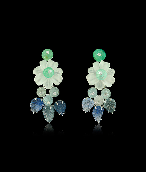 Tony Duquette Crystal Flower and Aquamarine Earrings
