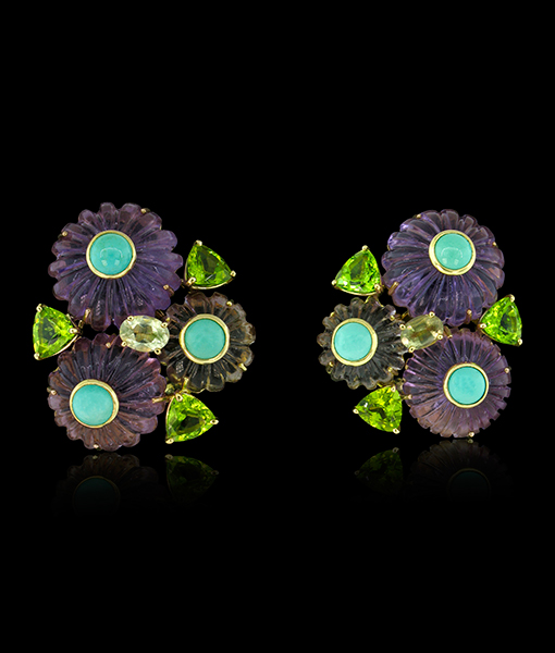 Tony Duquette Amethyst Citrine Peridot Turquoise Earrings