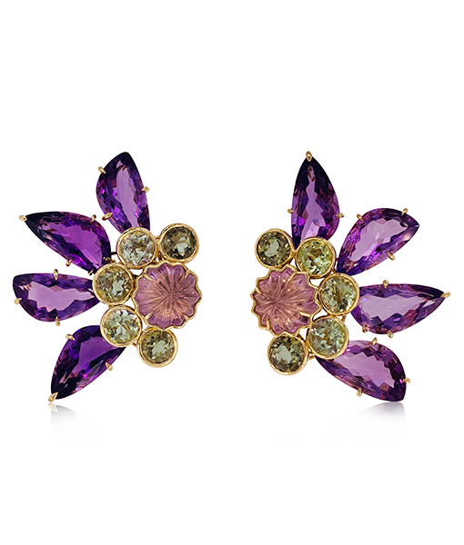 Tony Duquette Amethyst Citrine Earrings