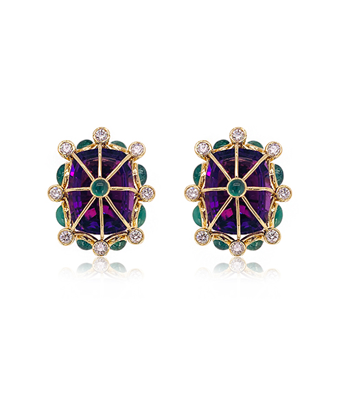 Tony Duquette Amethyst Emerald Diamond Earrings