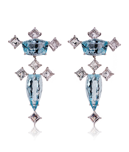 Tony Duquette Aquamarine and White Topaz Earrings
