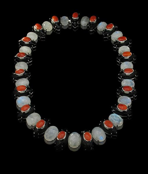 Tony Duquette Black Onyx Coral Moonstone Necklace